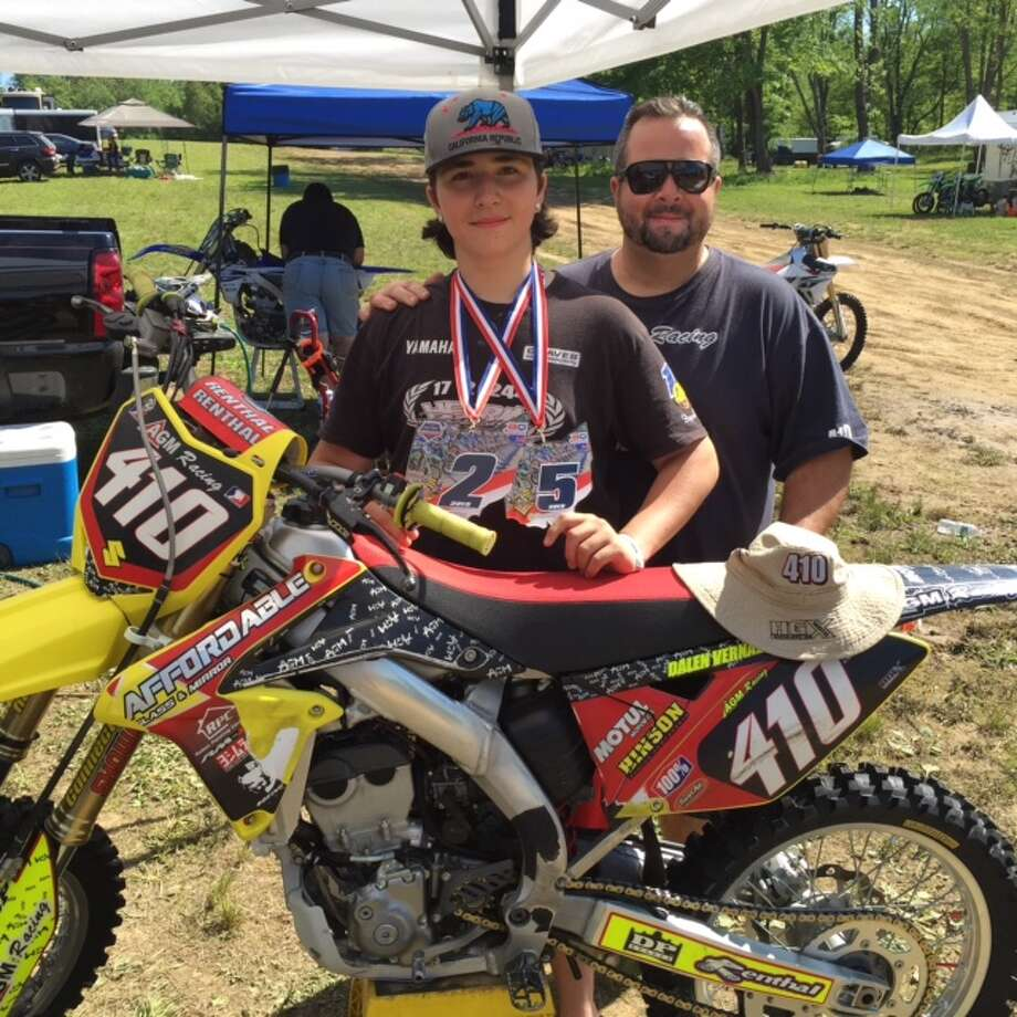 Dalen Vernazza and his father Jerry after Dalen qualified for Nationals at a regional championship race in Unadilla, N.Y. earlier this summer. Photo: Contributed