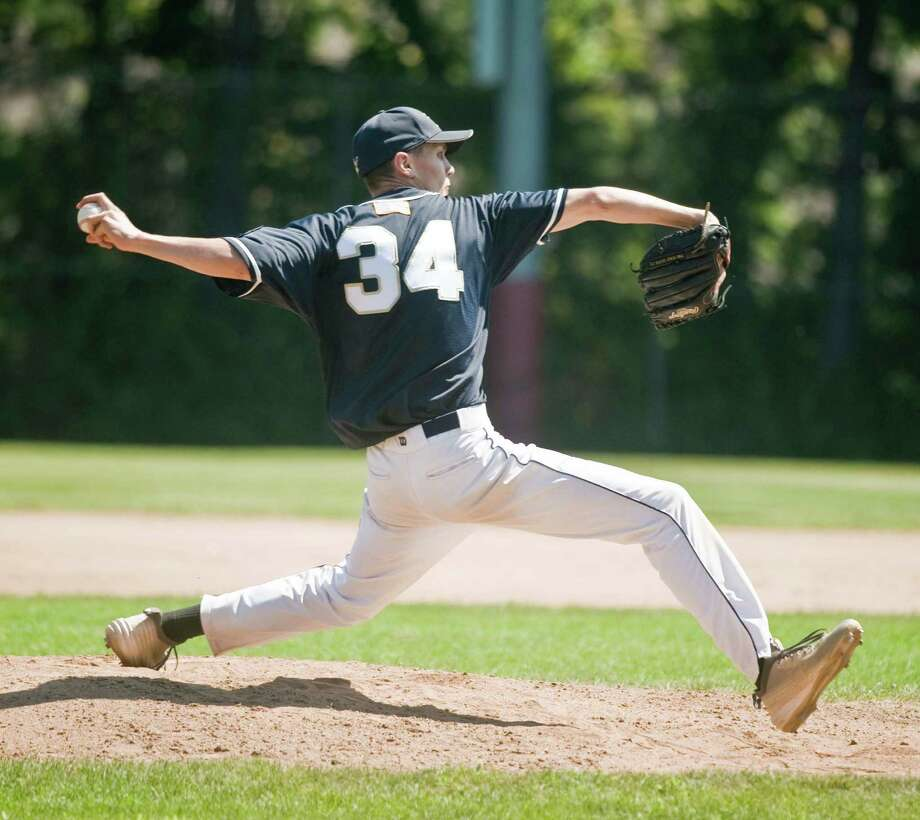 Bethel Admirals Austin Kazbarian delivers a pitch against Wilton Post 86 in a junior legion game at Bethel High School. Saturday, July 25, 2015 Photo: Scott Mullin / For The / The News-Times Freelance