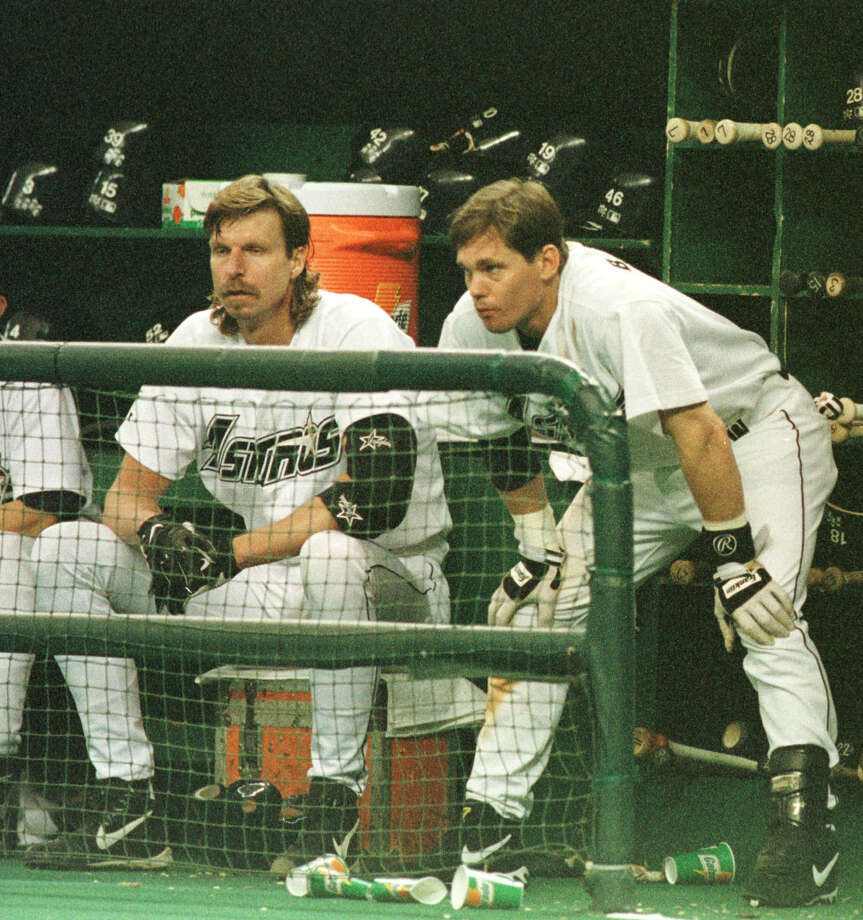 "Randy Johnson and Craig Biggio were teammates with the Astros in 1998, when Johnson came to Houston via trade and Biggio said it felt like ""we just got a rock star."" Photo: Karen Warren / Houston Chronicle"