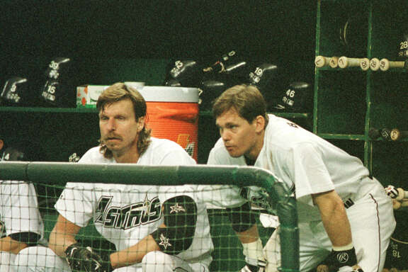 "Randy Johnson and Craig Biggio were teammates with the Astros in 1998, when Johnson came to Houston via trade and Biggio said it felt like ""we just got a rock star."""