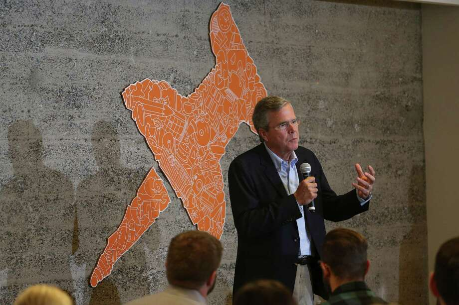 FILE -- Jeb Bush speaks to employees during a visit to a start-up called Thumbtack in San Francisco, July 16, 2015. Though most of the presidential candidates have spent time for months in early primary states, on paper, they have only just recently spent money campaigning, a practice both defended and called into question. (Jim Wilson/The New York Times) Photo: JIM WILSON, STF / New York Times / NYTNS