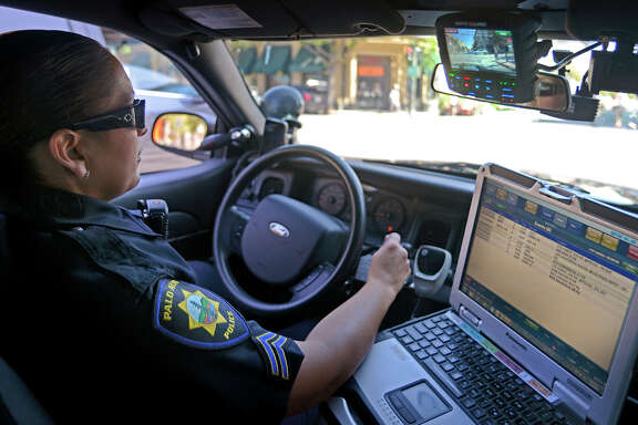 Palo Alto police Officer Marianna Villaescusa uses a camera system that is mounted on the patrol car, continually recording the surroundings from several angles.