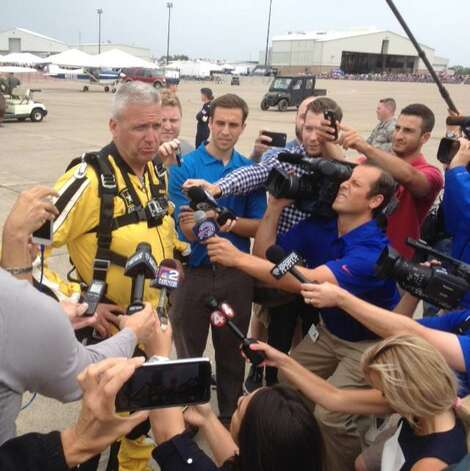 Football coach Rex Ryan holds a press conference after jumping with the U.S. Army's Golden Knights on press day at the Thunder of Niagara Airshow July 17 at Niagara Falls. (Scott Ziegler)