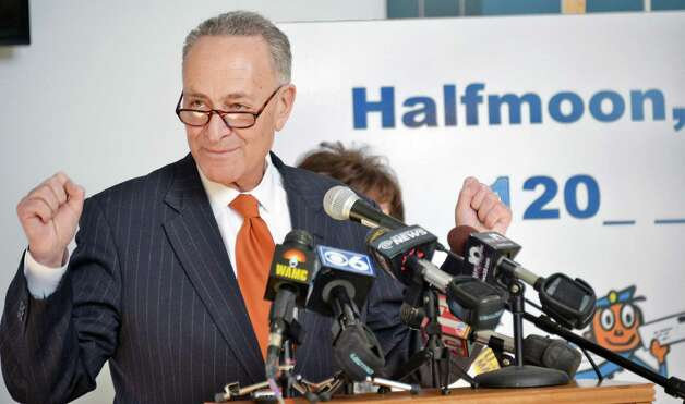 U.S. Senator Chuck Schumer announces the push to secure a zip code for the Town of Halfmoon at Halfmoon Town Hall Wednesday Feb. 18, 2015, in Halfmoon, NY.  (John Carl D'Annibale / Times Union) ORG XMIT: MER2015021812294011 Photo: John Carl D'Annibale / 00030669A