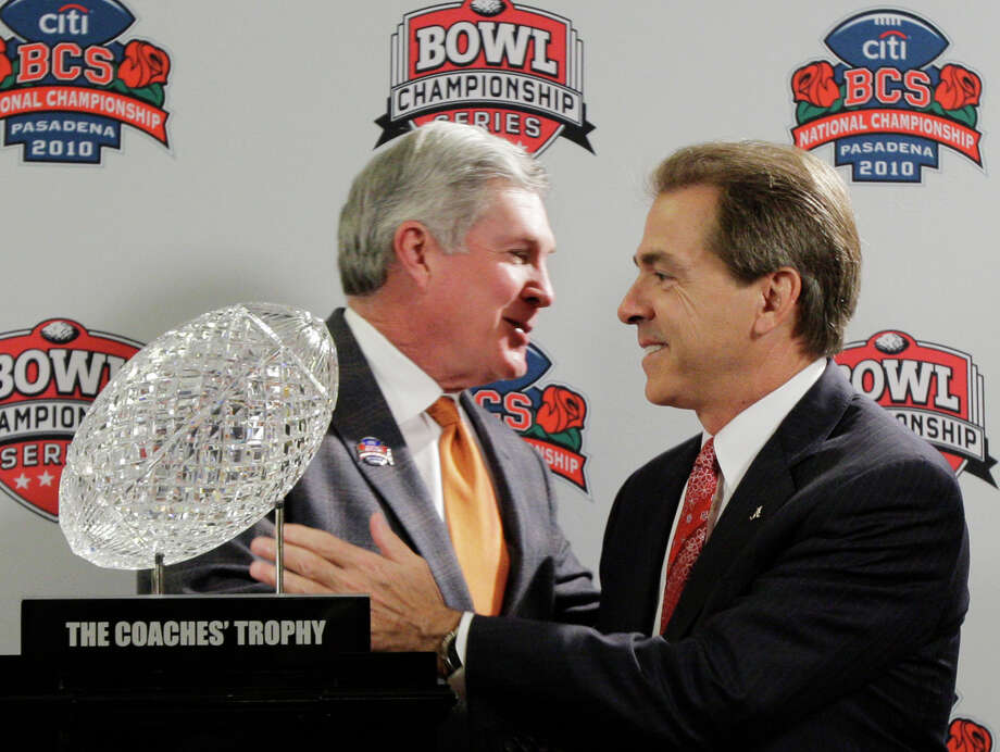 Then-Texas coach Mack Brown, left, and Alabama's Nick Saban went head-to-head for the national title in January 2010, but neither could have known that UT would pursue Saban to replace Brown three years later. Photo: Jae C. Hong, STF / AP2010