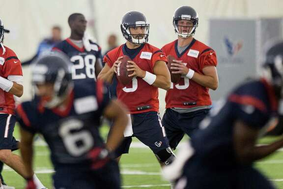 Quarterbacks Brian Hoyer, from left, Tom Savage and Ryan Mallett will take their best shots at earning playing time as the Texans' preseason unfolds.