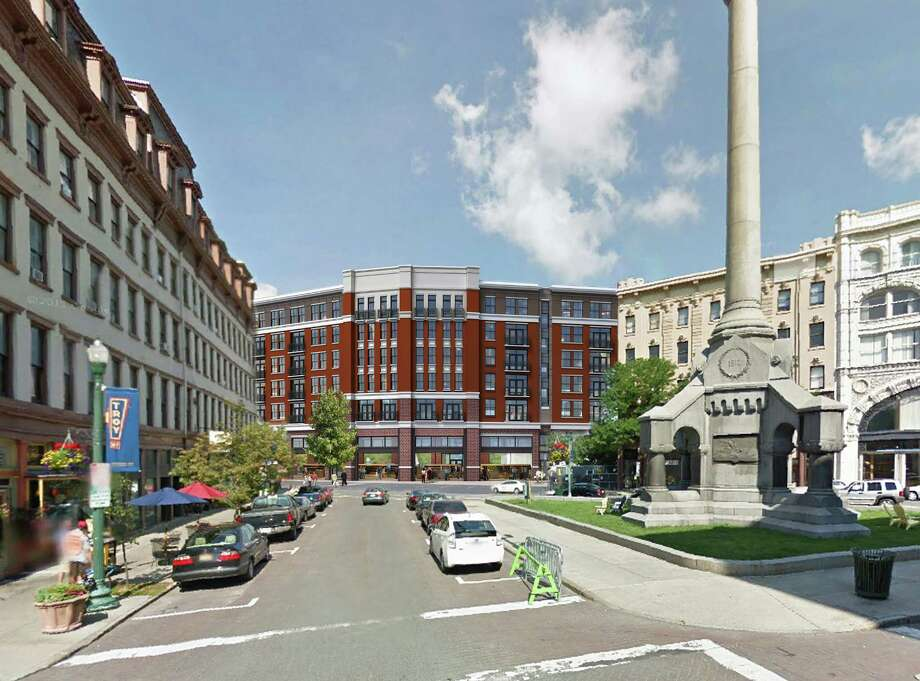 July 2015 rendering of Monument Square redevelopment project in Troy. (Sequence Development)
