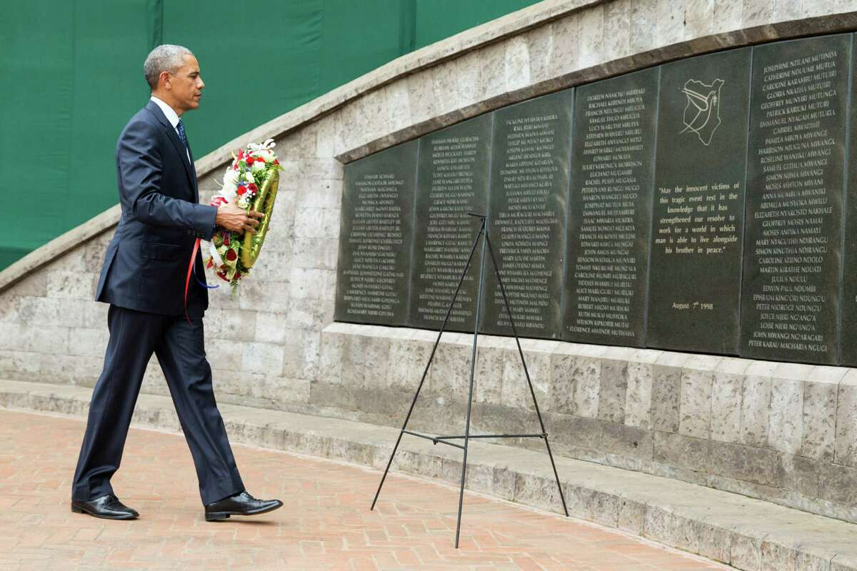 President Barack Obama participates in a wreath laying ceremony Saturday, in Nairobi, at Memorial Park in honor of the victims of the deadly 1998 bombing at the U.S. Embassy.