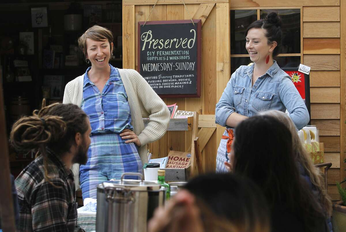 Beth Vecchiarelli and Jeriel Sydney lead a soap and salve making workshop for participants at Preserved on Piedmont Avenue in Oakland, Calif. on Saturday, July 25, 2015.