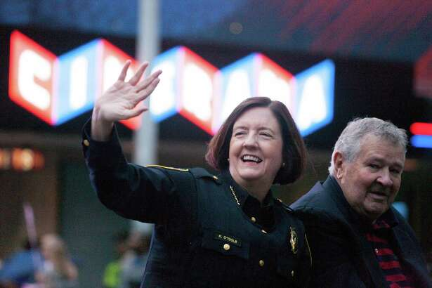 Seattle Police Department Chief Kathleen O'Toole during the Seafair Torchlight Parade on Saturday, July 25, 2015.