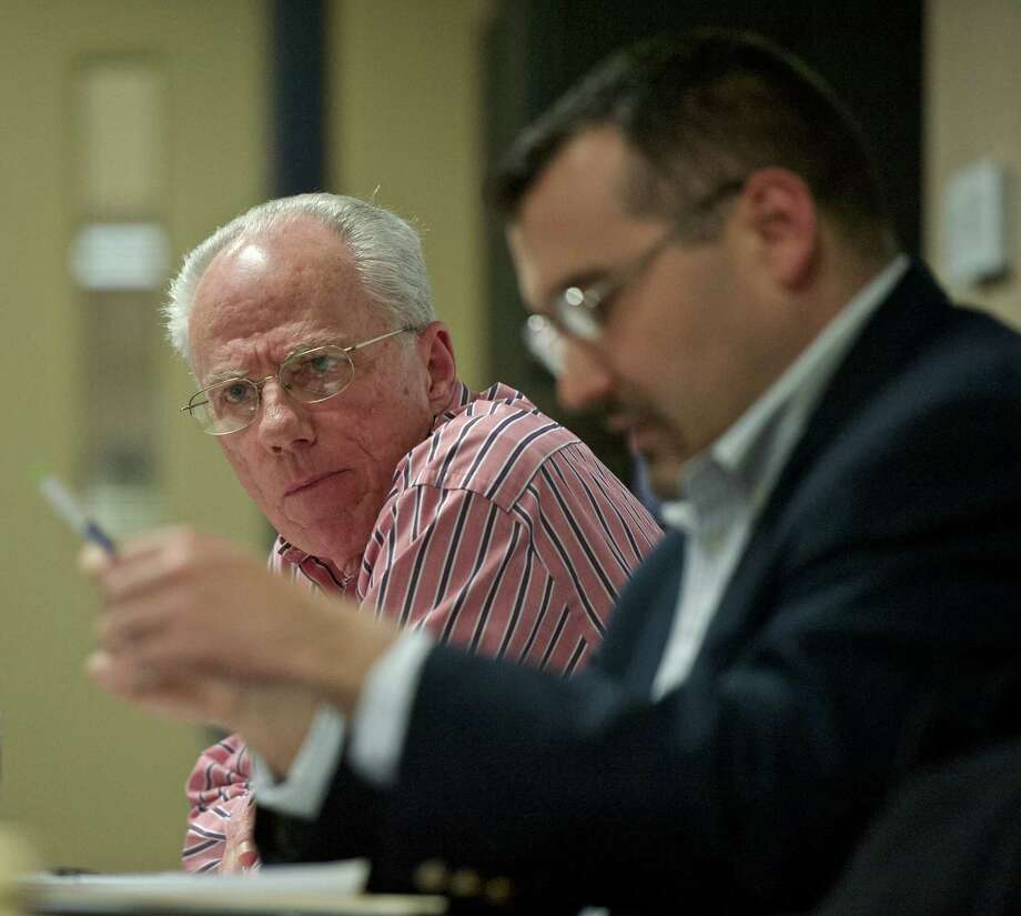 Republican registrar of voters Tom Dunkerton, left, and Matt Grimes, chairman of the Brookfield Republican Town Committee. Photo: H John Voorhees III / Hearst Connecticut Media / The News-Times
