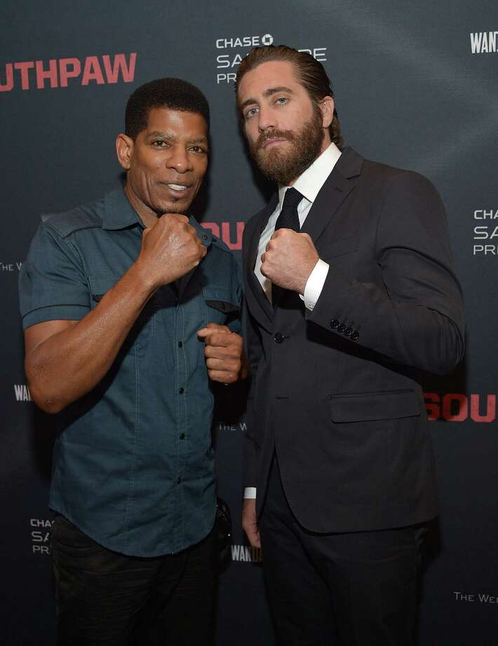 """Trainer and student:  Terry Claybon (left) and actor Jake Gyllenhaal attend a """"Southpaw"""" screening. Photo: Charley Gallay / Getty Images For The Weinstein Co. / 2015 Getty Images"""