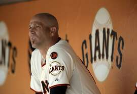 Tim Hudson (17) looks out from the dugout as the Giants played the Oakland Athletics at AT&T Park in San Francisco, Calif., on Sunday, July 26, 2015. The Giants won 4-3.