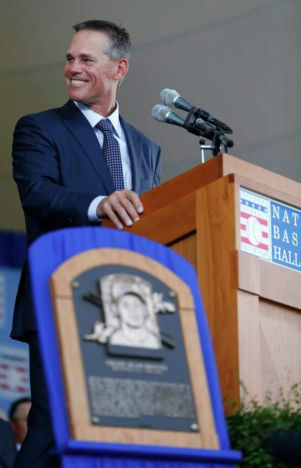 "Craig Biggio was happy to be the first of four inductees to speak Sunday at the Baseball Hall of Fame in Cooperstown, N.Y. ""I think I enjoyed it a lot more not having to wait,"" he admitted. Photo: Karen Warren, Staff / © 2015 Houston Chronicle"