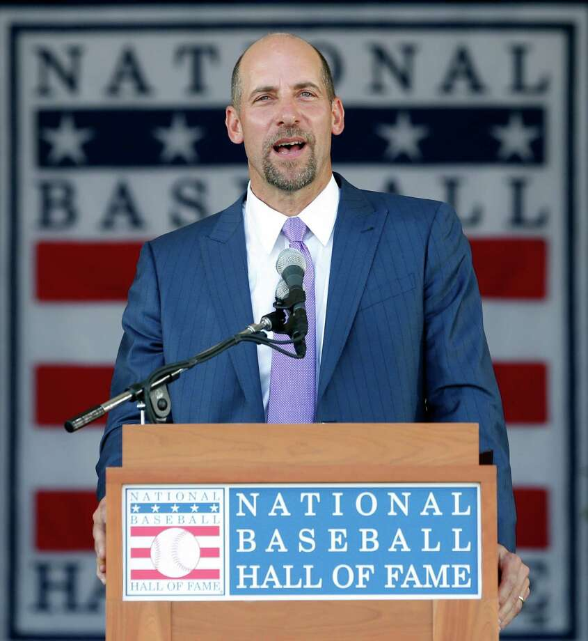 National Baseball Hall of Fame inductee John Smoltz speaks during an induction ceremony at the Clark Sports Center on Sunday, July 26, 2015, in Cooperstown, N.Y. (AP Photo/Mike Groll)  ORG XMIT: NYMG113 Photo: Mike Groll / AP