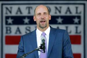 National Baseball Hall of Fame inductee John Smoltz speaks during an induction ceremony at the Clark Sports Center on Sunday, July 26, 2015, in Cooperstown, N.Y. (AP Photo/Mike Groll)  ORG XMIT: NYMG113