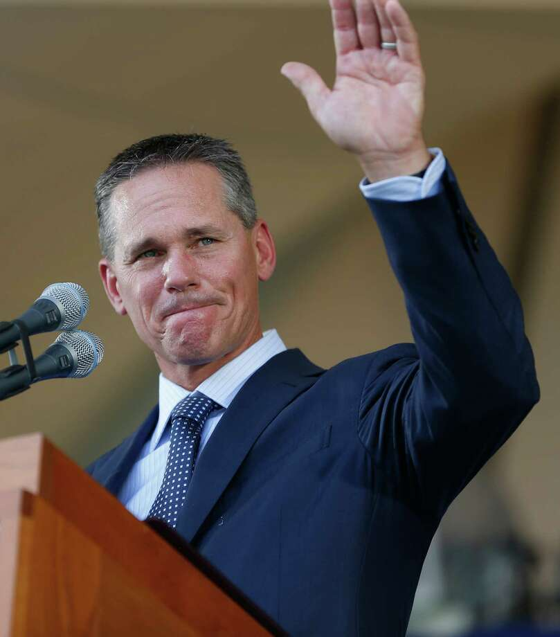 Craig Biggio waves to Matt Galante during the Hall of Fame induction ceremony on the grounds at Clark Sports Center on Sunday, July 26, 2015, in Cooperstown. ( Karen Warren / Houston Chronicle ) Photo: Karen Warren, Staff / © 2015 Houston Chronicle