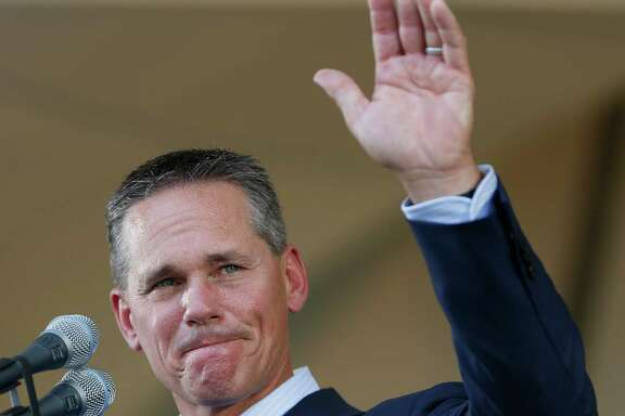 Craig Biggio waves to Matt Galante during the Hall of Fame induction ceremony on the grounds at Clark Sports Center on Sunday, July 26, 2015, in Cooperstown. ( Karen Warren / Houston Chronicle )
