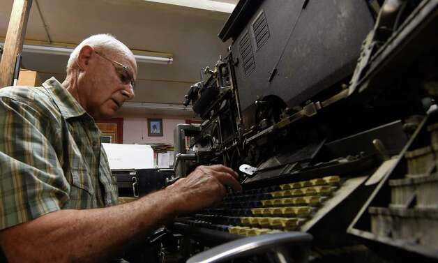 James Gardner Sr. sets  type the old fashioned way  Monday morning, July 20, 2015, in Altamont, N.Y.    (Skip Dickstein/Times Union) Photo: SKIP DICKSTEIN / 00032608A