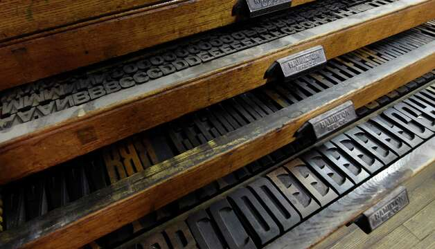 Old wood type lines the galleys of the former Altamont Enterprise office Monday morning, July 20, 2015, in Altamont, N.Y. (Skip Dickstein/Times Union) Photo: SKIP DICKSTEIN / 00032608A