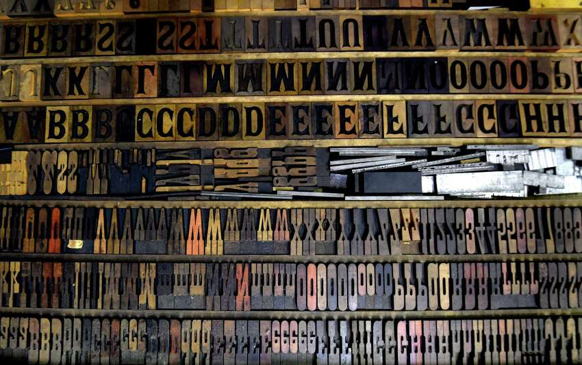 Old wood type lines the galleys of the former Altamont Enterprise office Monday morning, July 20, 2015 in Altamont, N.Y. (Skip Dickstein/Times Union)