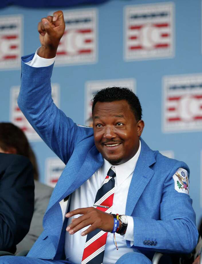 Pedro Martinez hams it up on stage during the Hall of Fame induction ceremony on the grounds at Clark Sports Center on Sunday, July 26, 2015, in Cooperstown. ( Karen Warren / Houston Chronicle ) Photo: Karen Warren, Staff / © 2015 Houston Chronicle
