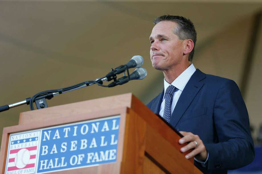 Craig Biggio managed to hold back the tears even while choking up several times Sunday during his induction speech, which lasted 17 minutes, 6 seconds. Photo: Karen Warren, Staff / © 2015 Houston Chronicle