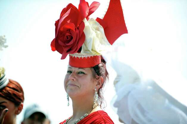 Kim Nikolaus from Hagaman won first place in the Fashionably Saratoga category during the 24th annual Hat Contest, presented by Hat Sational by DEI at the Saratoga Race Course on Sunday, July 26, 2015, in Saratoga Springs, N.Y.  (Paul Buckowski / Times Union) Photo: PAUL BUCKOWSKI / 00032762A