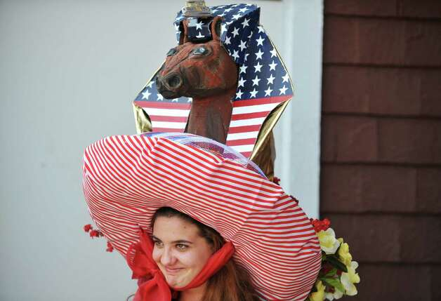 Dana Smooke from Woodbridge, CT wearing her American Pharoah hat she created, won third place in the Uniquely Saratoga category during the 24th annual Hat Contest, presented by Hat Sational by DEI at the Saratoga Race Course on Sunday, July 26, 2015, in Saratoga Springs, N.Y.  (Paul Buckowski / Times Union) Photo: PAUL BUCKOWSKI / 00032762A