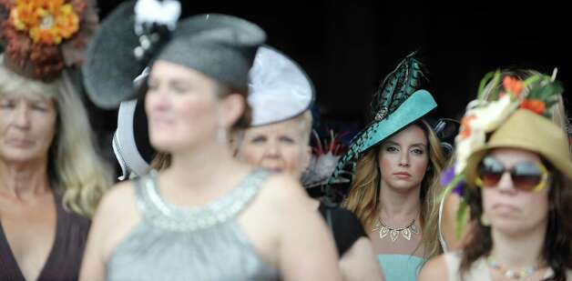 Carissa Palumbo from Wayne, NJ, waits to take part in the Fashionably Saratoga category during the 24th annual Hat Contest, presented by Hat Sational by DEI at the Saratoga Race Course on Sunday, July 26, 2015, in Saratoga Springs, N.Y.  (Paul Buckowski / Times Union) Photo: PAUL BUCKOWSKI / 00032762A