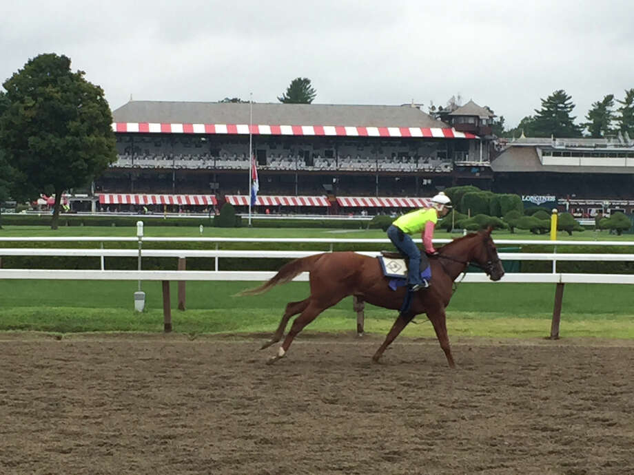 It was cloudy at Saratoga Race Course on Sunday morning, but a little overnight rain wasn?t going to stop morning exercise on the main track. A horse from trainer Linda Rice?s barn flashes down the backstretch, part of the daily routine for every throughbred on the grounds. In the background is the iconic Spa structure, which was full of people having a trackside breakfast and watching the morning workouts. (Tim Wilkin / Times Union)