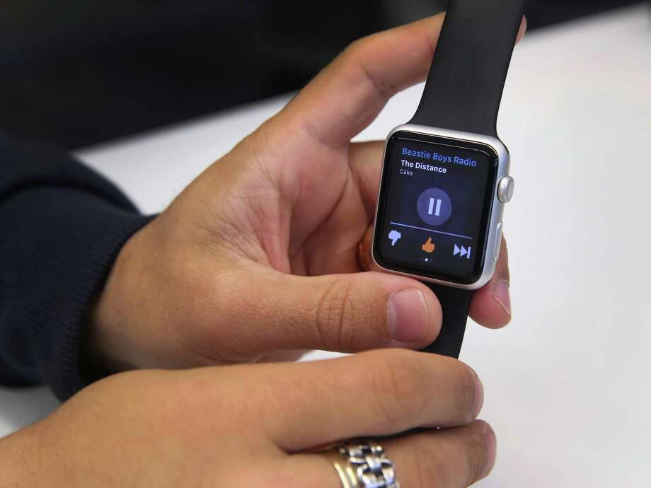 Pandora's lead product designer Jason Tusman demos the streaming music service on the Apple Watch in Oakland, Calif. on Wednesday, May 27, 2015. Photo: Paul Chinn, Staff / ONLINE_YES