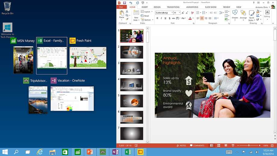 Snap improvements for Windows 10 for better multitasking. Windows 10 releases July 29. Photo: Microsoft / Microsoft