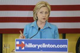 Democratic presidential candidate Hillary Rodham Clinton speaks about her renewable energy plan, Monday, July 27, 2015, at the Des Moines Area Rapid Transit Central Station in Des Moines, Iowa. (AP Photo/Charlie Neibergall)