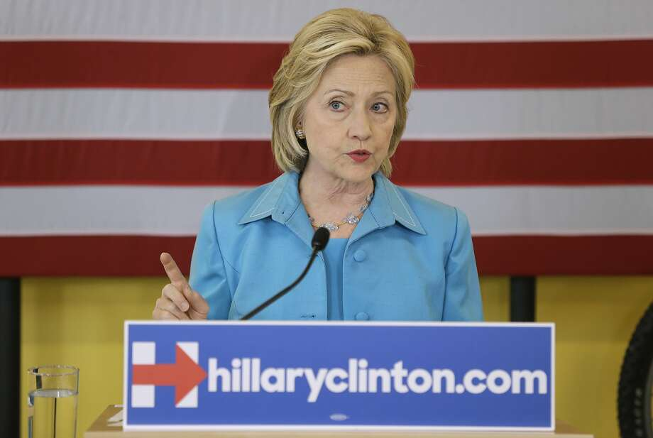 Democratic presidential candidate Hillary Rodham Clinton speaks about her renewable energy plan, Monday, July 27, 2015, at the Des Moines Area Rapid Transit Central Station in Des Moines, Iowa. (AP Photo/Charlie Neibergall) Photo: Charlie Neibergall, Associated Press