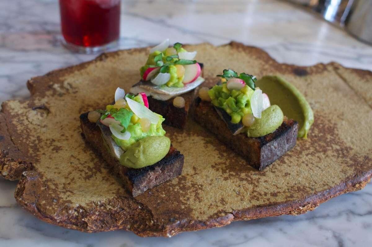 Avocado Toast with Sardine, Grapefruit, Cress & Marash