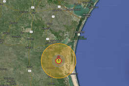 """""""Ivy Mike,"""" the first H-bomb, carries a 10.4 megaton payload. The air blast (red and grey) would flatten everything and the radiation cloud (orange) would devastate the area around Baffin Bay, Loyola Beach and south about 40 miles."""