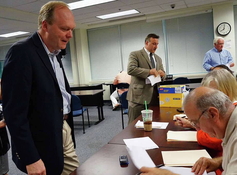 Selectman Kevin Kiley gets ready to cast his ballot at last week's GOP nominating convention. Kiley lost his bid to seek election to a full term on the Board of Selectmen and has decided he will not force a primary. Photo: Genevieve Reilly / Fairfield Citizen / Fairfield Citizen