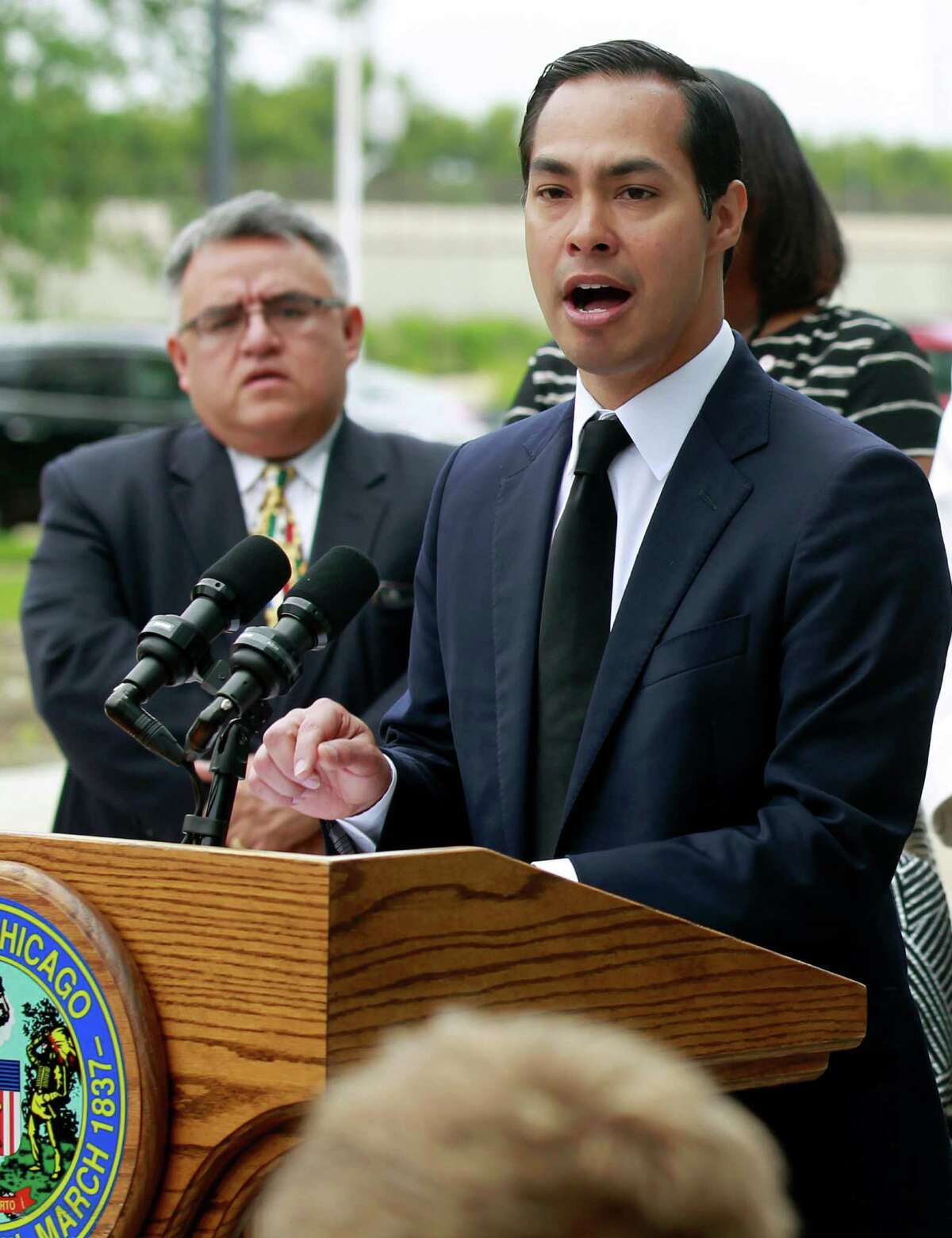 Housing and Urban Development Secretary Julian Castro announces a policy change at a news conference Wednesday, July 8, 2015, in Chicago.