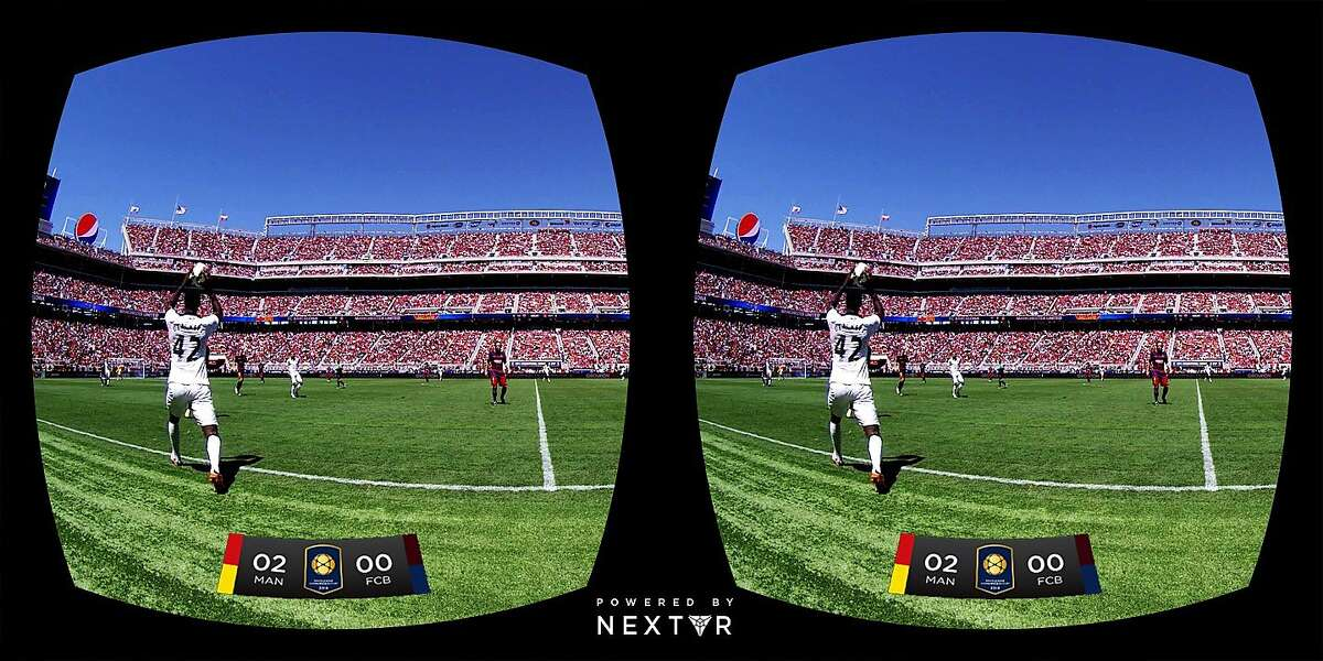 NextVR of Laguna Beach demonstrated live virtual reality broadcasting during Saturday's Barcelona-Manchester United soccer match at Levi's Stadium in Santa Clara. The company stationed five special virtual reality video cameras on the field and around the stadium. The two seperate shots shown in these screen captures become one view inside a Samsung Gear VR goggle, letting you look around at your immediate surroundings.