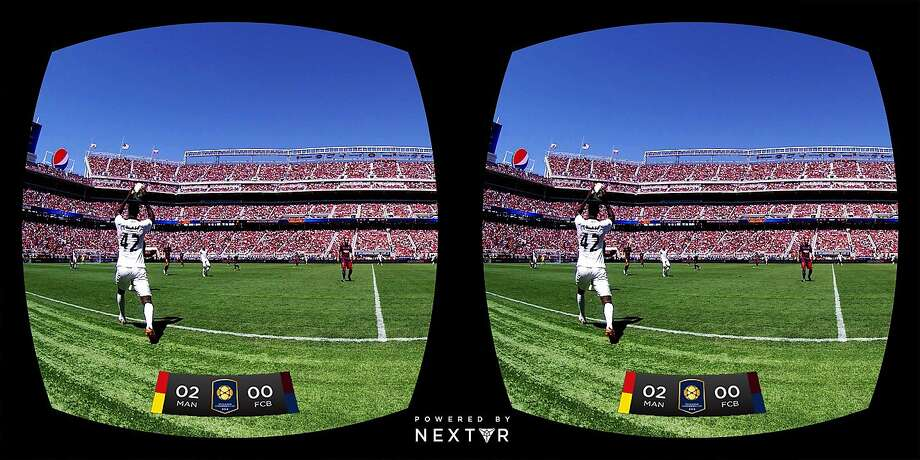 NextVR demonstrated live virtual-reality broadcasting during Saturday's Barcelona-Manchester United soccer match at Levi's Stadium. Shots from two cameras, below, become one in the Gear VR goggle, letting viewers see around the field. Photo: NextVR