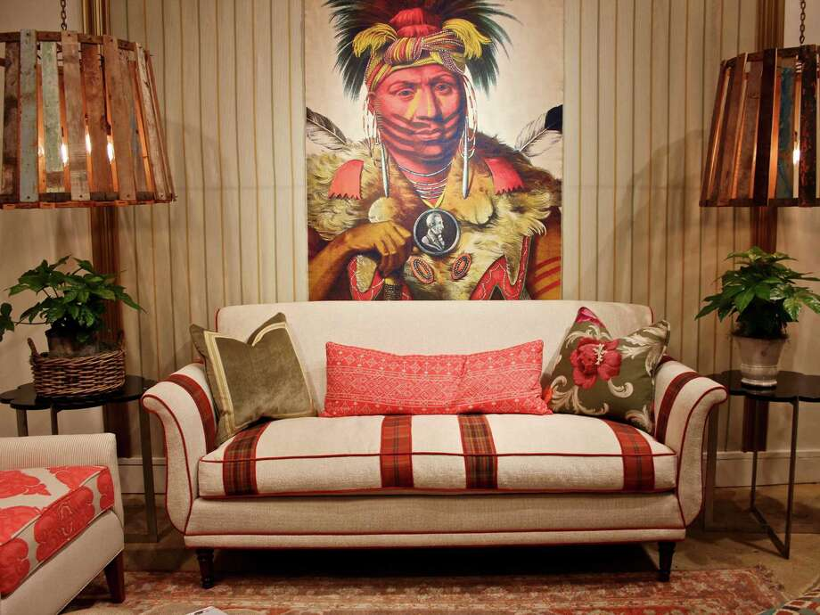 Norwalk's Belle sofa with contrasting fabric welts and stripes. Photo: Patricia Sheridan, MBR / Pittsburgh Post-Gazette