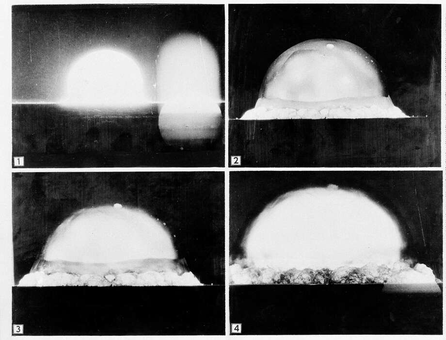 "FILE - This July 16, 1945 sequence of file photos provided by the U.S. Army, a mushroom cloud is recorded by an Army automatic motion picture camera six miles away as the first atomic bomb test was conducted at Alamogordo, N.M. A new PBS special looks into the creation of the atomic bomb in the city of Los Alamos and will feature newly-restored footage of nuclear weaponry. ""The Bomb,"" which begins airing Tuesday, July 28, 2015, on most PBS stations, seeks to tell the story of the deadly device as the 70th anniversary of the atomic bombings of Hiroshima and Nagasaki approaches. Photo: U.S. Army, AP / U.S. Army"