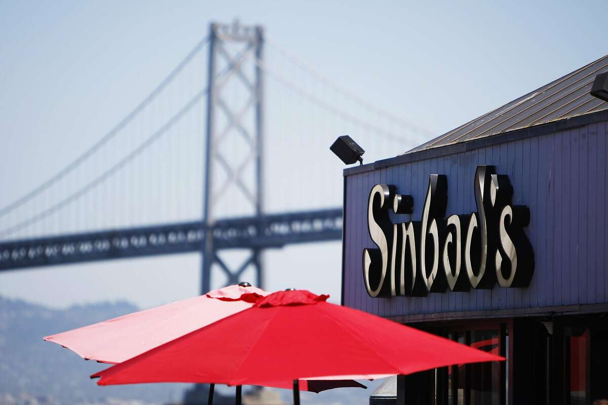 Sinbad's is pictured with the Bay Bridge in San Francisco on Monday, July 27, 2015.
