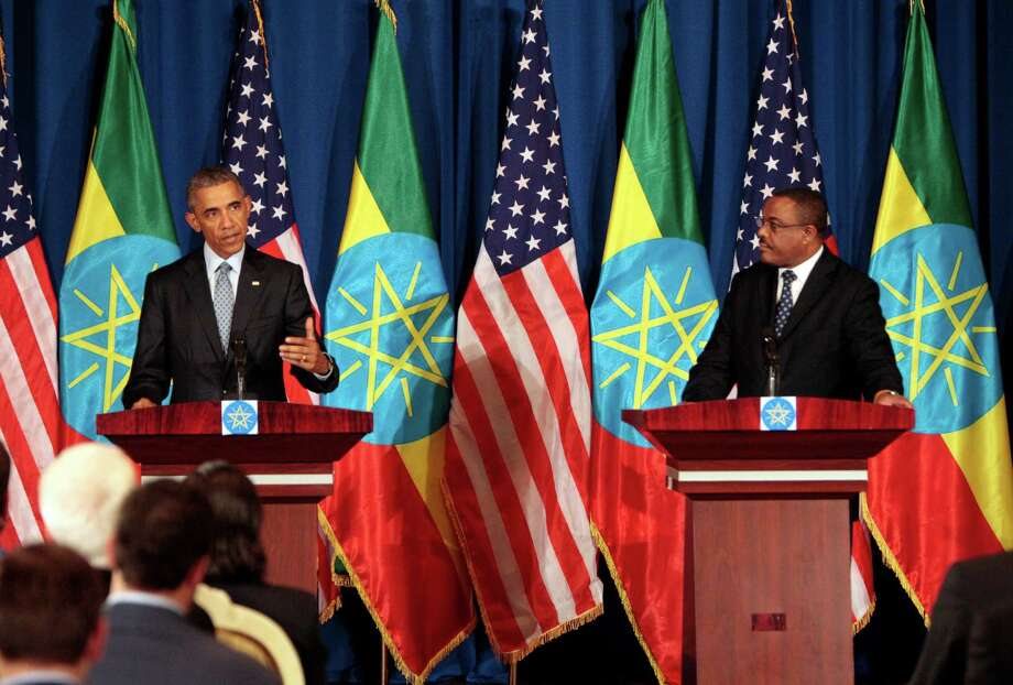U.S. President Barack Obama spoke about the need for peace and an end to the conflict in South Sudan during a joint press conference with Ethiopian prime minister Hailemariam Desalegn, right, on Monday in Addis Ababa, Ethiopia. Photo: Sayyid Azim, STF / AP
