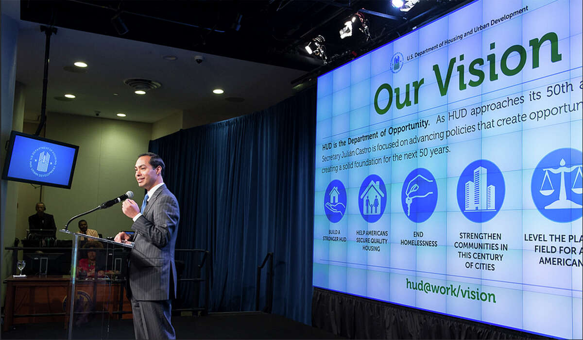 Julián Castro spoke of a reduction of fees charged to homebuyers and of ending veterans' homelessness in celebrating his one-year anniversary as HUD secretary.