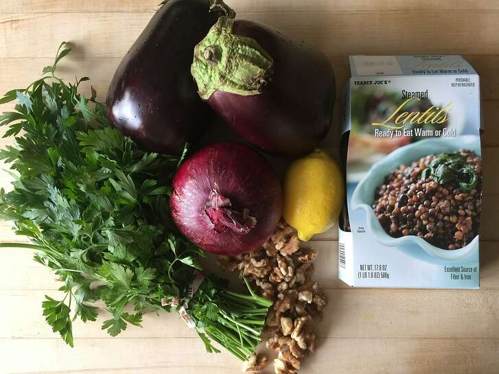 Lentil Salad with Roasted Eggplant and Walnuts