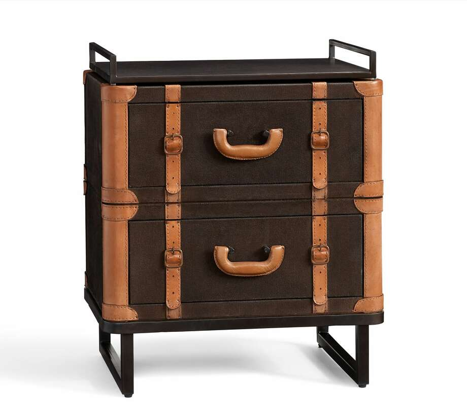 Ken Fulk's line of home furnishings and accessories for Pottery Barn launches Aug. 12. Seen here: Ken Fulk Luggage Bedside Table, $899. Made with details reminiscent of turn-of-the-century sea voyages, this bedside table combines modernity with nostalgia. It's made of mahogany wood and medium density fiberboard. Photo: Courtesy Of Pottery Barn