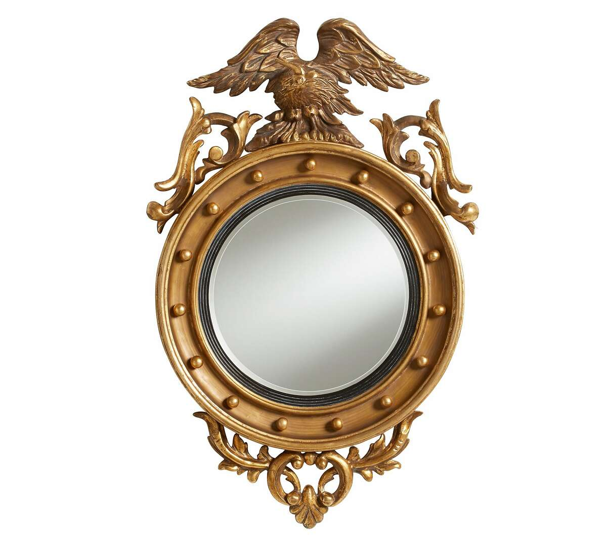 San Francisco interior designer Ken Fulk, who rose to national fame through his work with billionaire social media clients and other local monied clients, has created a line of home furnishings and accessories for Pottery Barn. It launches in August, 2015. Inspired by a traditional Early American design, this federal-style mirror is crowned by a bald eagle with outstretched wings and features a porthole-like center. The mirror is 20 1/4 inch in diameter and weighs 10 pounds. It retails for $499.