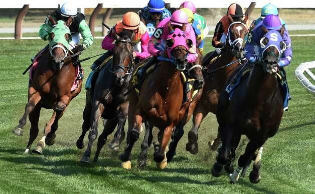 The field of the 7th race, The Lucky Coin stake make the turn for home which was won by #1 Shore Runner ridden by  Monday afternoon at the Saratoga Race Course in July 27, 2015 in Saratoga Springs, N.Y.    (Skip Dickstein/Times Union) Photo: SKIP DICKSTEIN